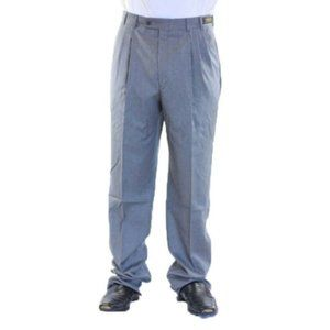 Pallesco Mens Triple Pleated Super 100s Dress Pant